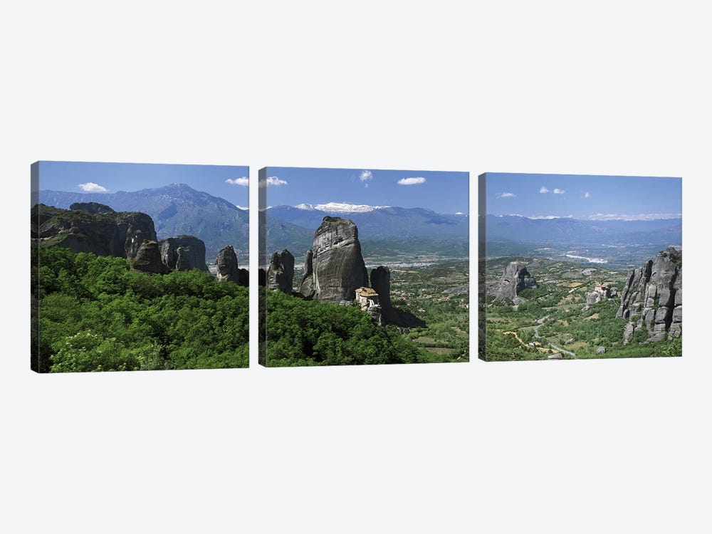 Meteora Monastery Greece by Panoramic Images 3-piece Canvas Print