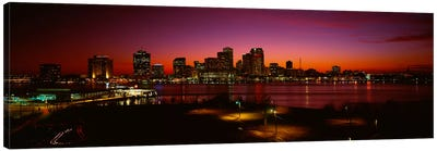Buildings lit up at night, New Orleans, Louisiana, USA Canvas Art Print