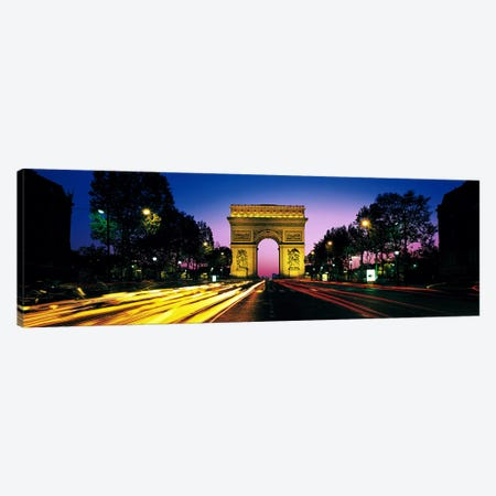 Arc de Triomphe With Blurred Motion Car Lights, Paris, Ile-de-France, France Canvas Print #PIM2752} by Panoramic Images Canvas Print