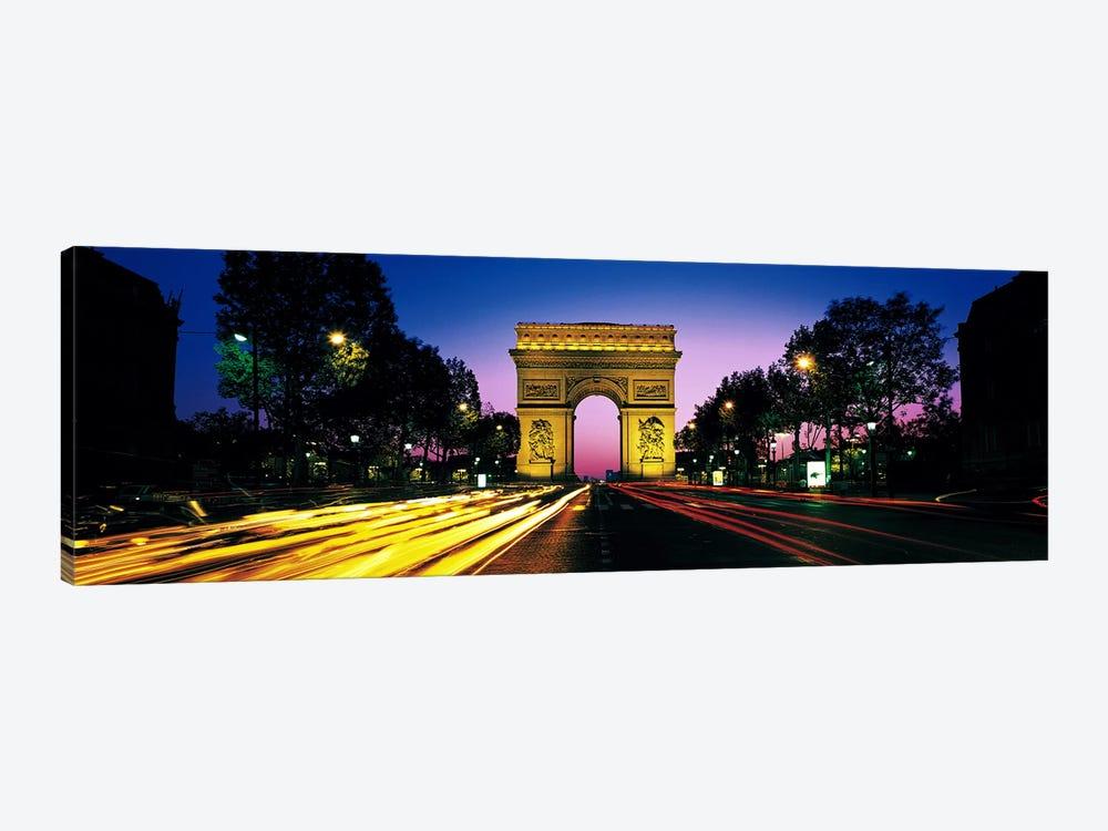 Arc de Triomphe With Blurred Motion Car Lights, Paris, Ile-de-France, France by Panoramic Images 1-piece Canvas Wall Art