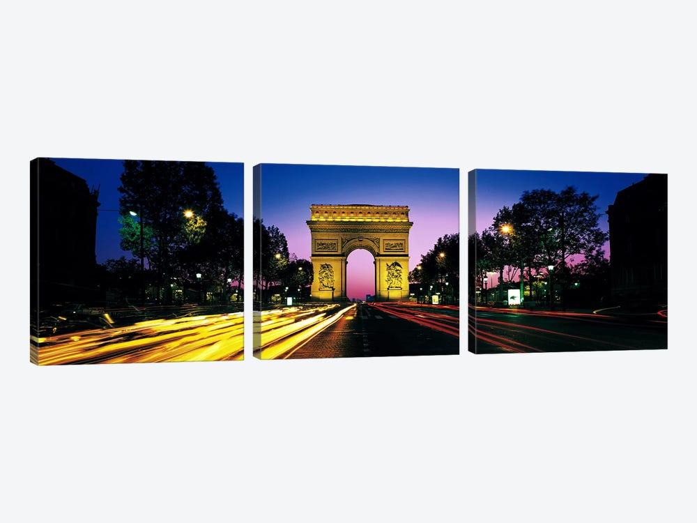 Arc de Triomphe With Blurred Motion Car Lights, Paris, Ile-de-France, France by Panoramic Images 3-piece Canvas Wall Art