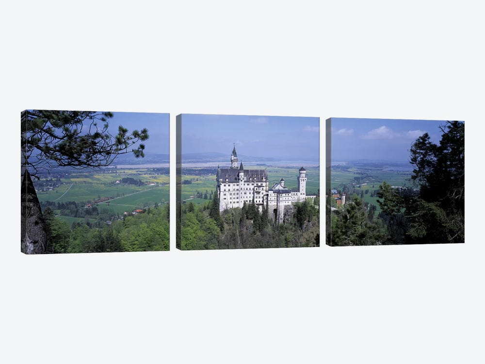 Neuschwanstein Palace Bavaria Germany by Panoramic Images 3-piece Canvas Wall Art