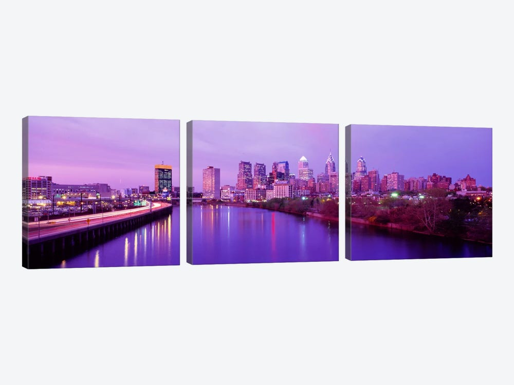 Twilight Philadelphia PA USA 3-piece Canvas Art Print