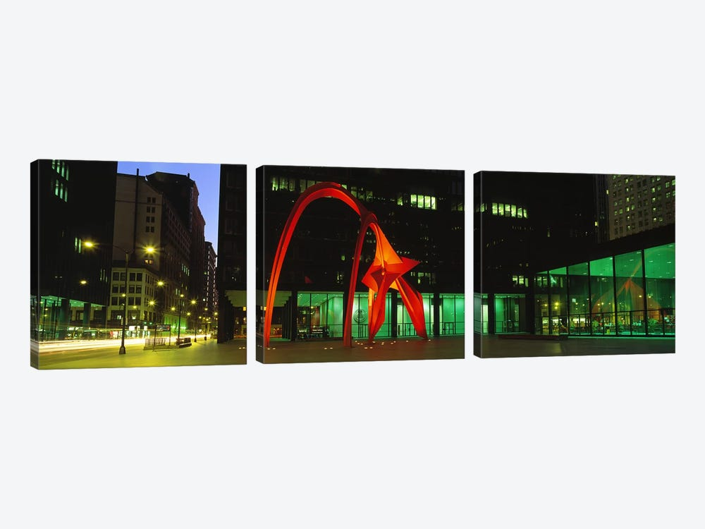 Alexander Calder's Flamingo, Chicago, Illinois, USA by Panoramic Images 3-piece Canvas Print