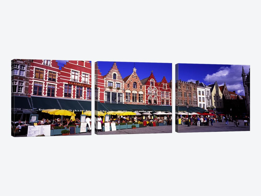 Street Scene Brugge Belgium by Panoramic Images 3-piece Canvas Print