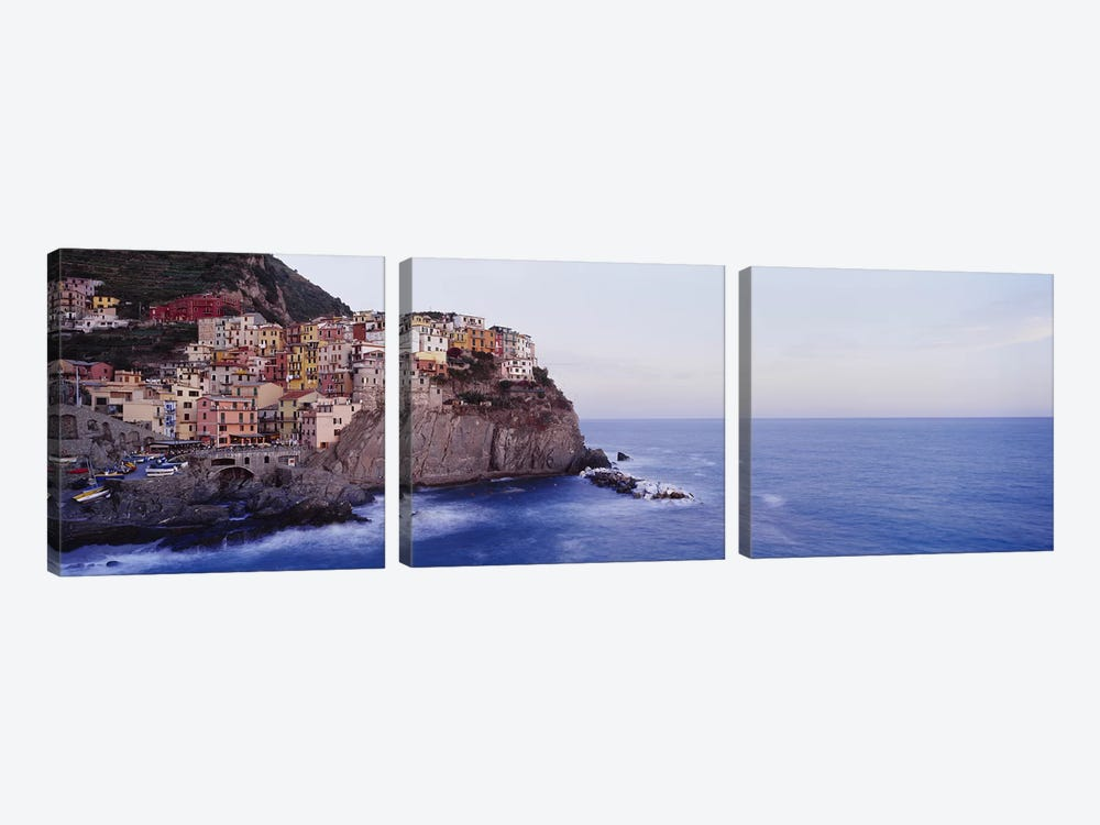 Coastal Village Of Manarola, Riomaggiore, La Spezia, Liguria Region, Italy by Panoramic Images 3-piece Canvas Artwork