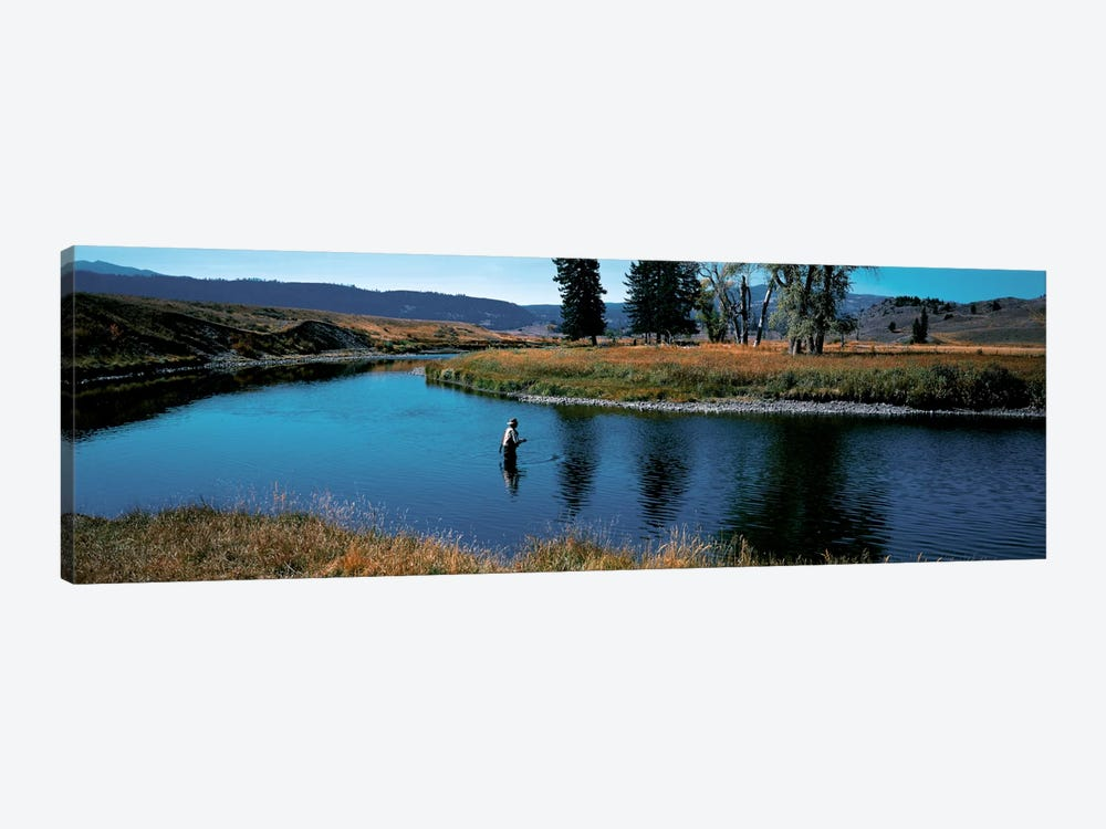 Trout fisherman Slough Creek Yellowstone National Park WY by Panoramic Images 1-piece Canvas Wall Art
