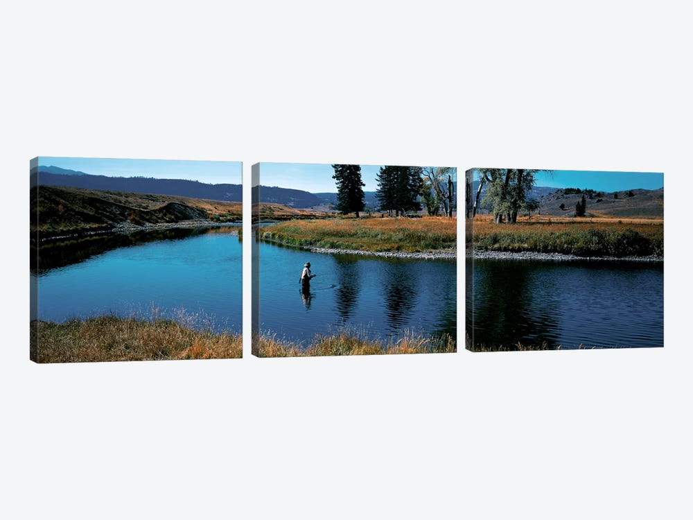 Trout fisherman Slough Creek Yellowstone National Park WY by Panoramic Images 3-piece Canvas Wall Art