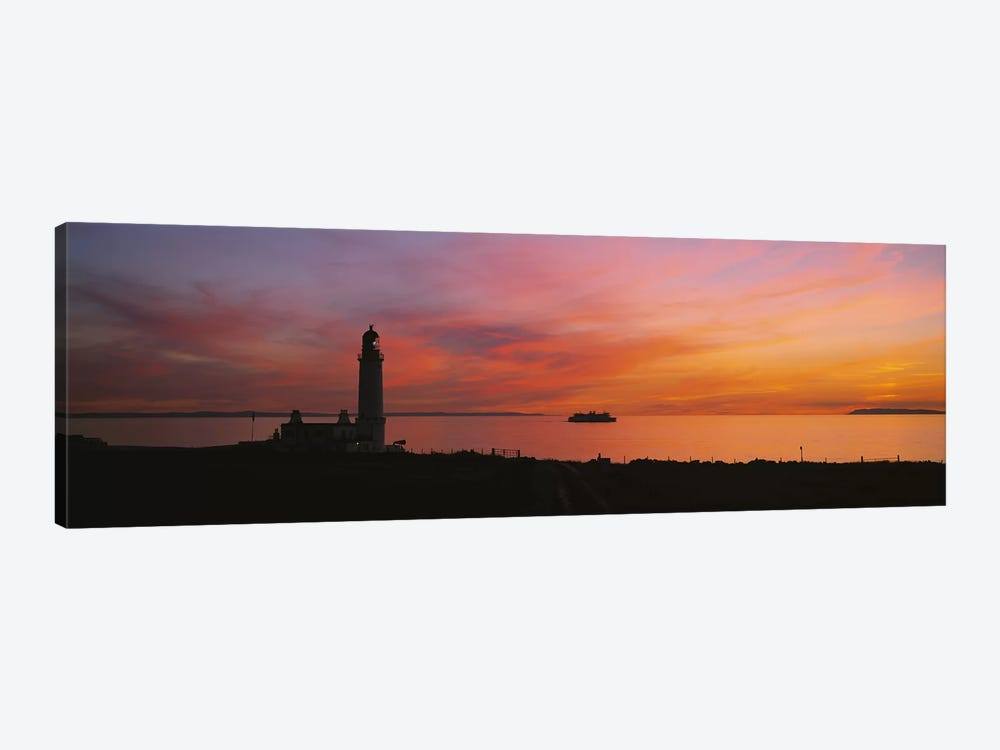 Silhouette of a lighthouse at sunset, Scotland 1-piece Canvas Artwork