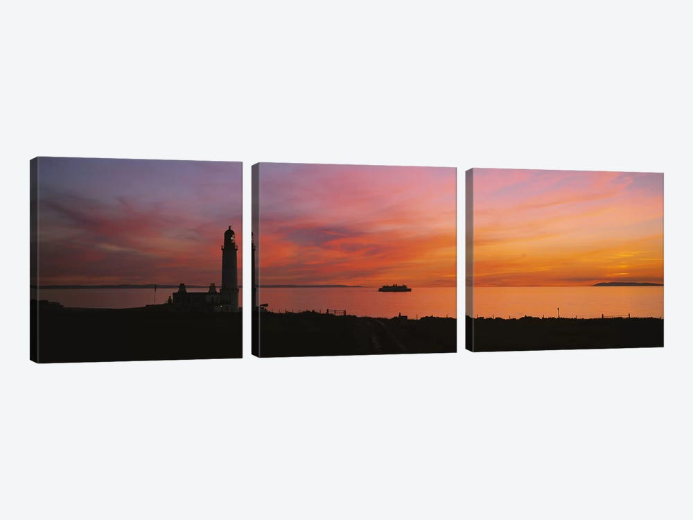 Silhouette of a lighthouse at sunset, Scotland 3-piece Canvas Artwork