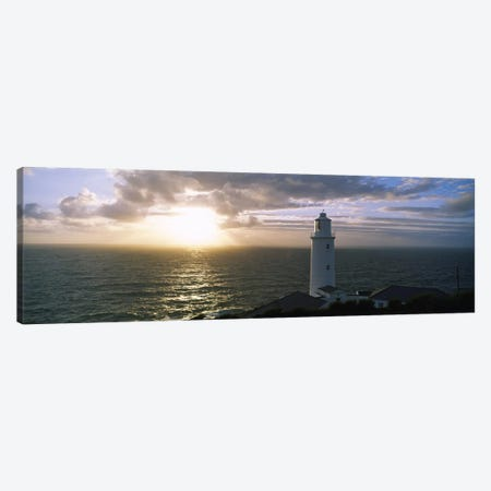 Cloudy Ocean Sunrise Near Trevose Head Lighthouse, Cornwall, England, United Kingdom Canvas Print #PIM2800} by Panoramic Images Canvas Art Print