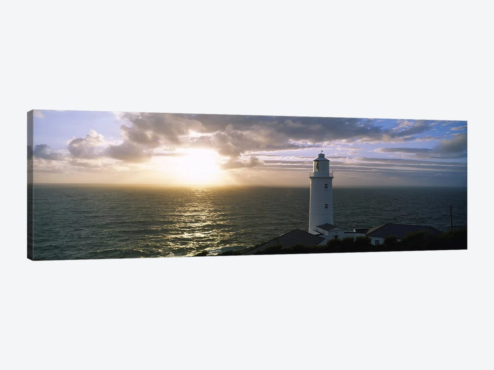 Cloudy Ocean Sunrise Near Trevose Head Lighthouse, Cornwall, England, United Kingdom by Panoramic Images 1-piece Canvas Print