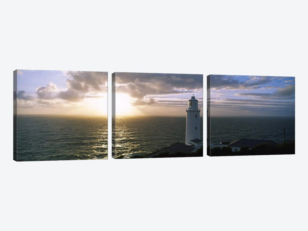 Cloudy Ocean Sunrise Near Trevose Head Lighthouse, Cornwall, England, United Kingdom by Panoramic Images 3-piece Canvas Art Print