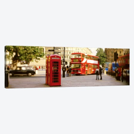 Red Phone Box, Trafalgar Square, London, England, United Kingdom Canvas Print #PIM2802} by Panoramic Images Art Print
