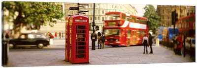 Red Phone Box, Trafalgar Square, London, England, United Kingdom Canvas Print #PIM2802