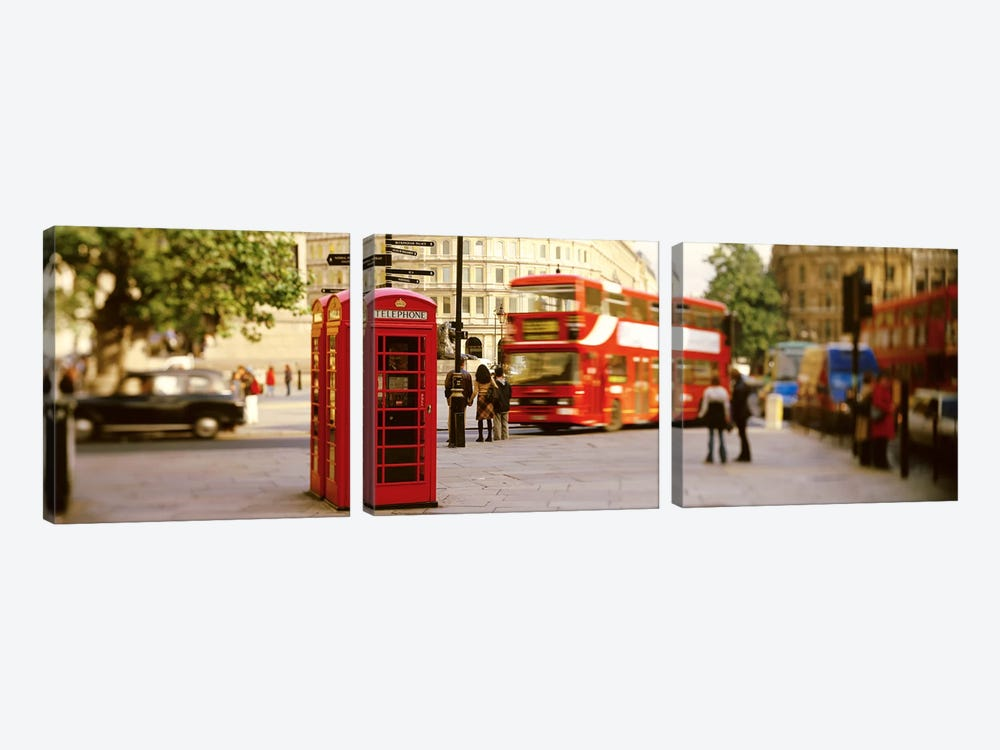 Red Phone Box, Trafalgar Square, London, England, United Kingdom by Panoramic Images 3-piece Canvas Print
