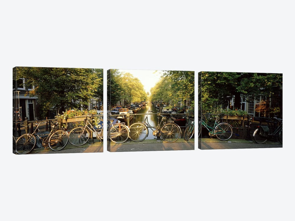 Row Of Bicycles, Amsterdam, Netherlands by Panoramic Images 3-piece Art Print