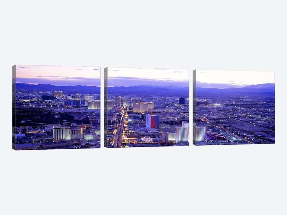 Dusk The Strip Las Vegas NV USA by Panoramic Images 3-piece Art Print