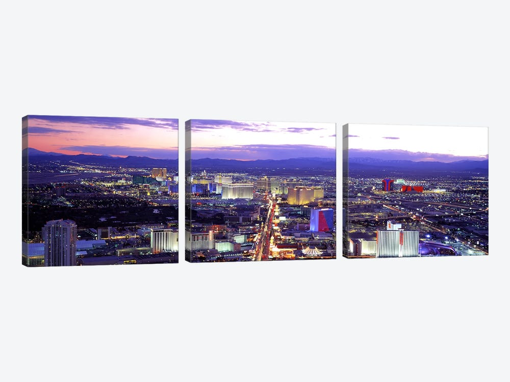 Dusk Las Vegas NV USA by Panoramic Images 3-piece Canvas Wall Art