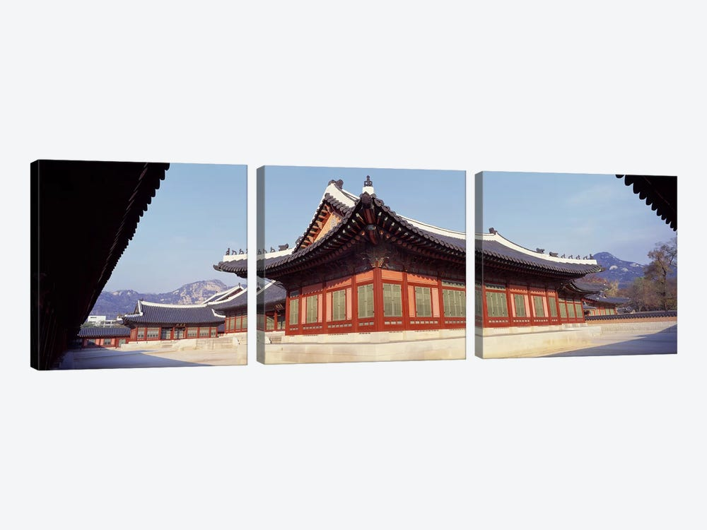 Courtyard of a palaceKyongbok Palace, Seoul, South Korea, Korea by Panoramic Images 3-piece Canvas Print