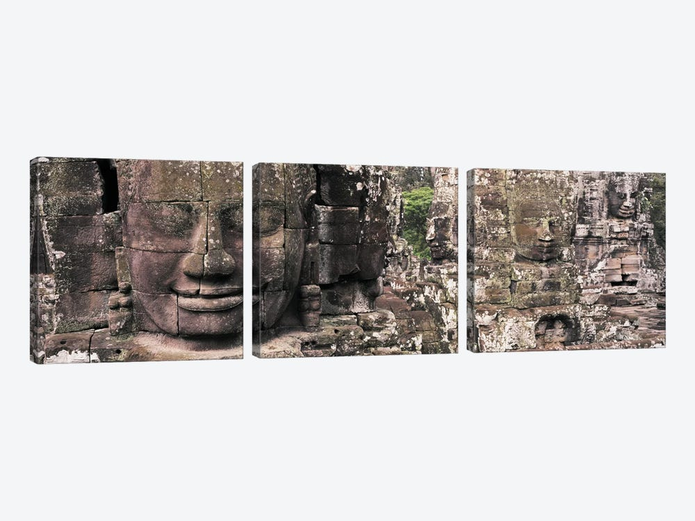 Stone Faces Bayon Angkor Siem Reap Cambodia by Panoramic Images 3-piece Canvas Art