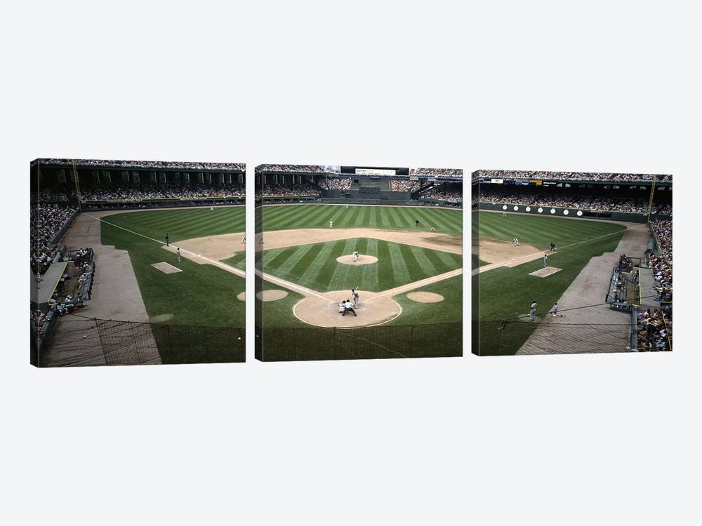 Baseball match in progressU.S. Cellular Field, Chicago, Cook County, Illinois, USA by Panoramic Images 3-piece Canvas Artwork
