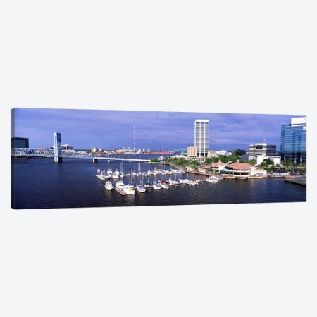 USA, Florida, Jacksonville, St. Johns River, High angle view of Marina Riverwalk Canvas Print #PIM282} by Panoramic Images Canvas Art
