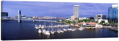 USA, Florida, Jacksonville, St. Johns River, High angle view of Marina Riverwalk Canvas Art Print