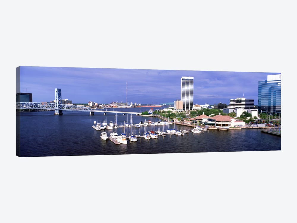 USA, Florida, Jacksonville, St. Johns River, High angle view of Marina Riverwalk 1-piece Canvas Print