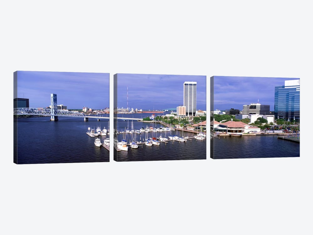 USA, Florida, Jacksonville, St. Johns River, High angle view of Marina Riverwalk 3-piece Canvas Art Print