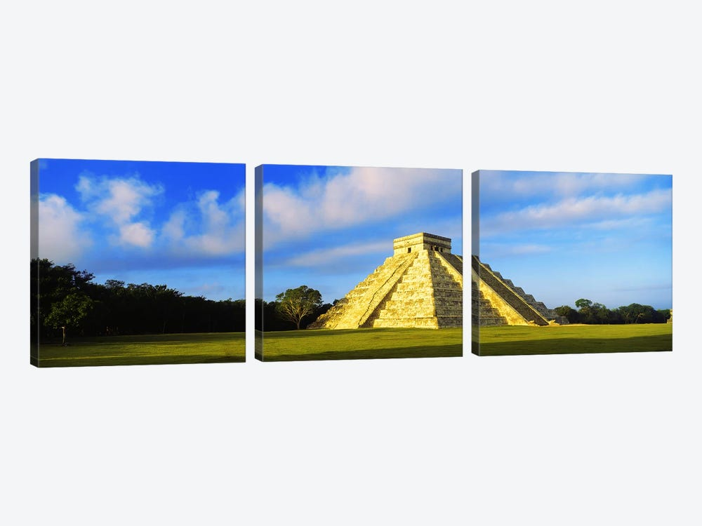 Pyramid in a field, Kukulkan Pyramid, Chichen Itza, Yucatan, Mexico by Panoramic Images 3-piece Art Print