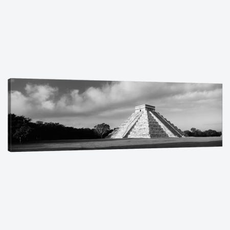 Pyramid in a field, Kukulkan Pyramid, Chichen Itza, Yucatan, Mexico (black & white) Canvas Print #PIM2831bw} by Panoramic Images Canvas Print
