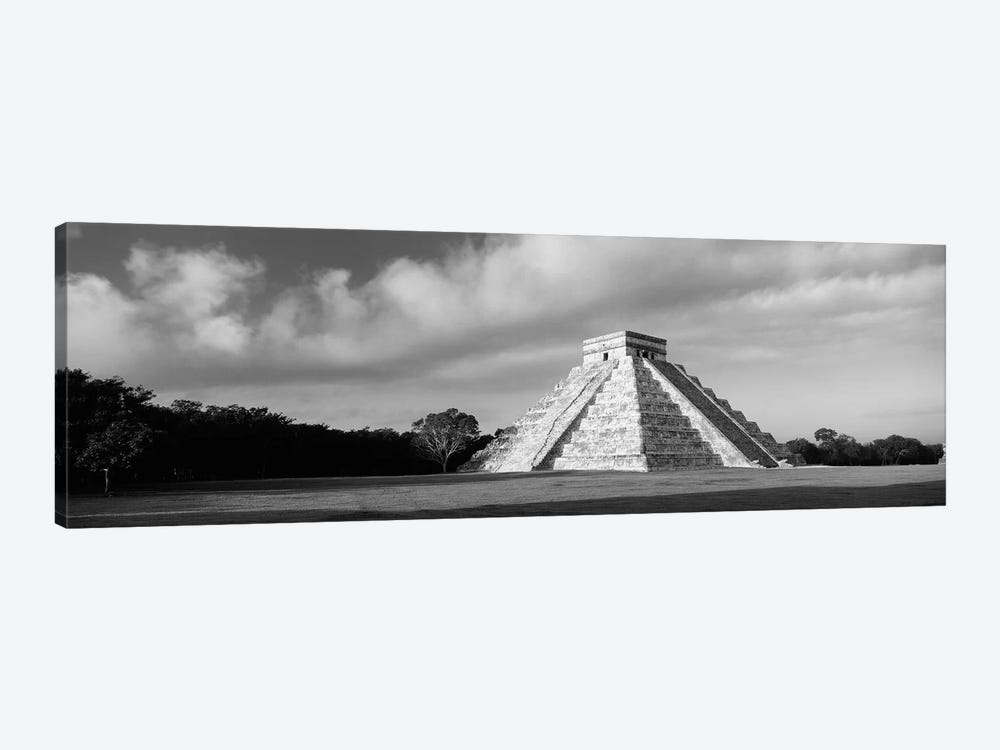 Pyramid in a field, Kukulkan Pyramid, Chichen Itza, Yucatan, Mexico (black & white) by Panoramic Images 1-piece Art Print