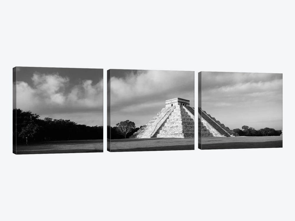 Pyramid in a field, Kukulkan Pyramid, Chichen Itza, Yucatan, Mexico (black & white) by Panoramic Images 3-piece Art Print