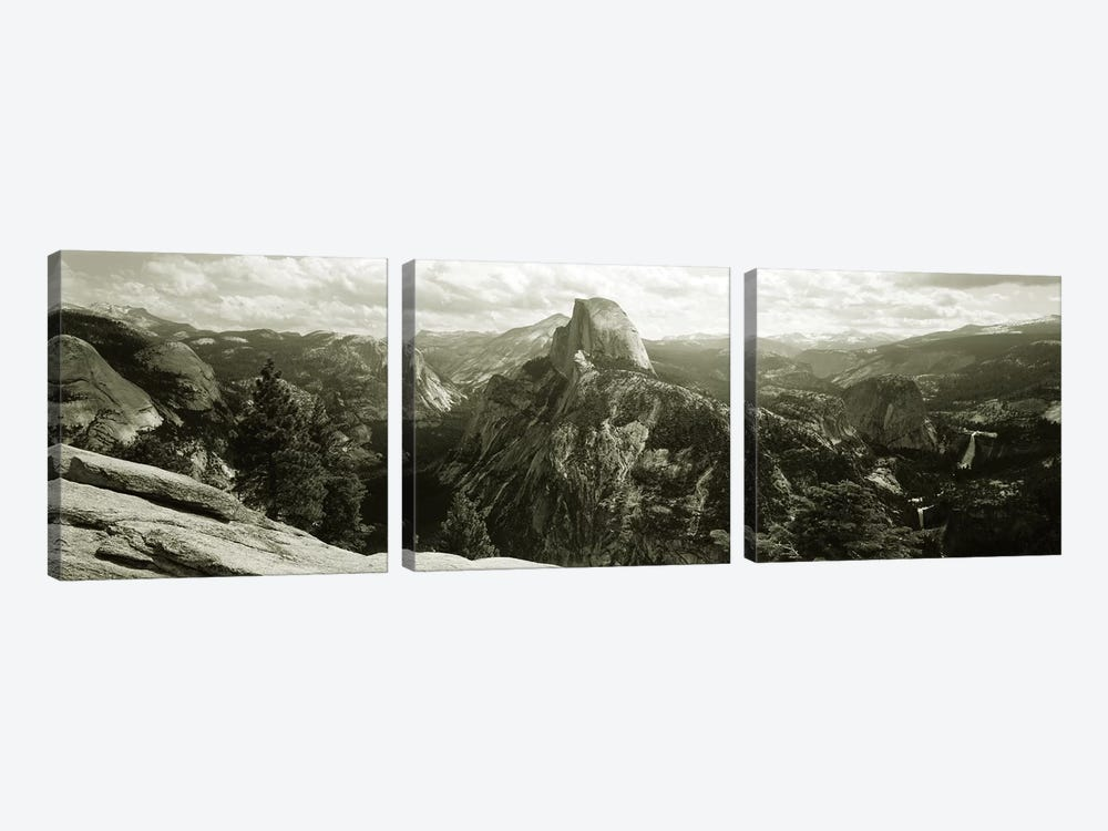 Half Dome In B&W, Yosemite National Park, California, USA by Panoramic Images 3-piece Canvas Art Print