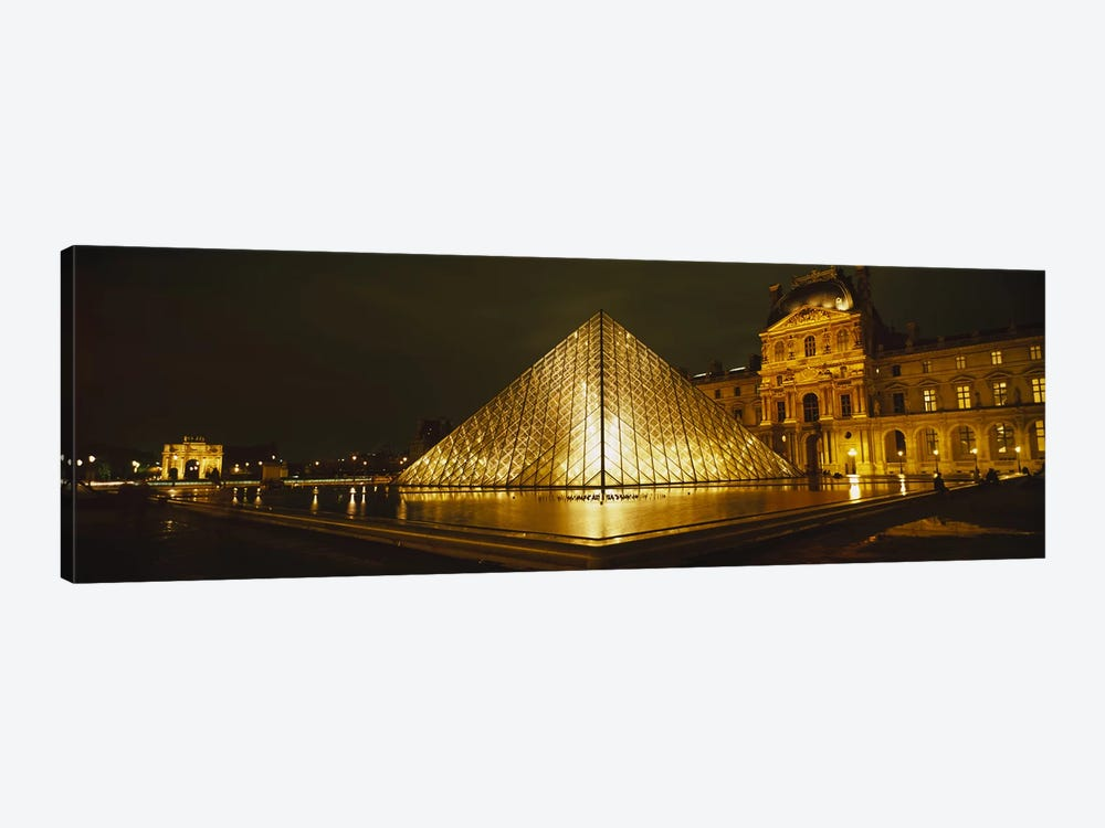 Museum lit up at nightMusee Du Louvre, Paris, France by Panoramic Images 1-piece Canvas Print