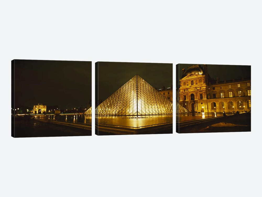 Museum lit up at nightMusee Du Louvre, Paris, France by Panoramic Images 3-piece Art Print