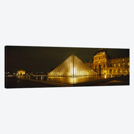 Museum lit up at nightMusee Du Louvre, Paris, France Canvas Print #PIM2837} by Panoramic Images Canvas Print