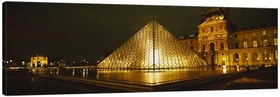 Museum lit up at nightMusee Du Louvre, Paris, France Canvas Art Print