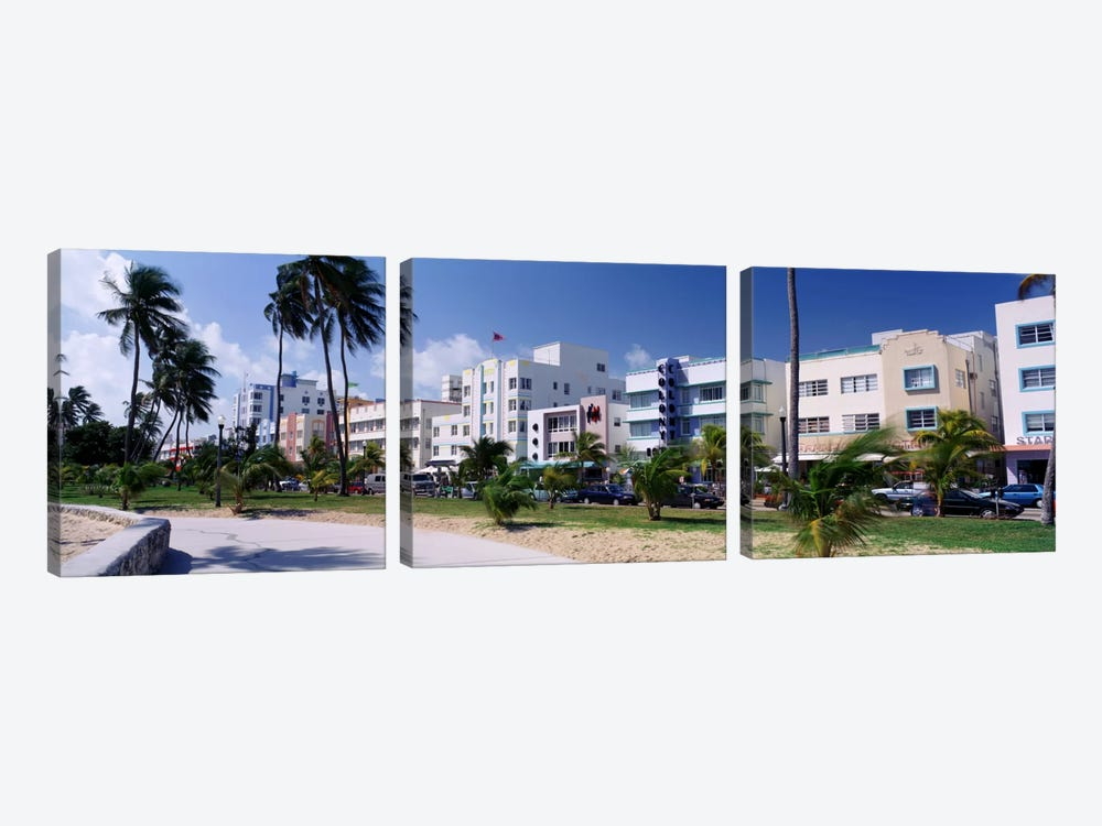 Ocean Drive, South Beach, Miami Beach, Florida, USA by Panoramic Images 3-piece Canvas Wall Art