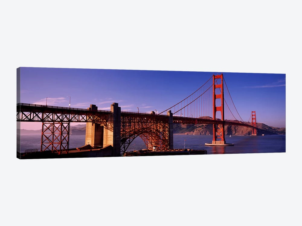 Suspension bridge at duskGolden Gate Bridge, San Francisco, Marin County, California, USA by Panoramic Images 1-piece Canvas Wall Art