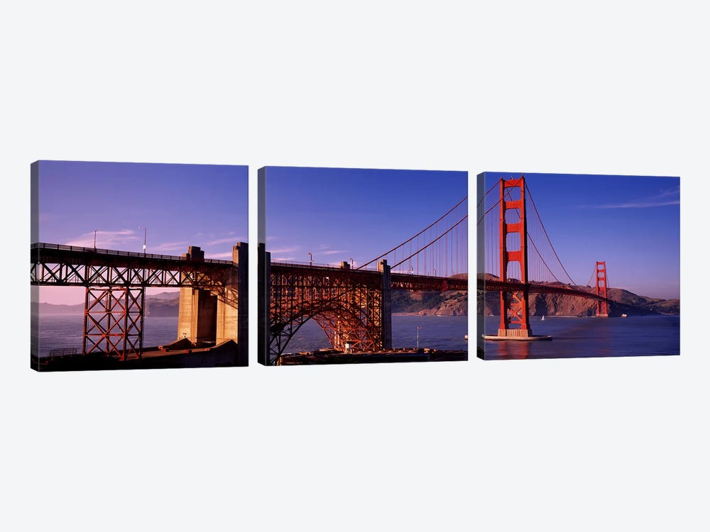 Suspension bridge at duskGolden Gate Bridge, San Francisco, Marin County, California, USA by Panoramic Images 3-piece Canvas Wall Art