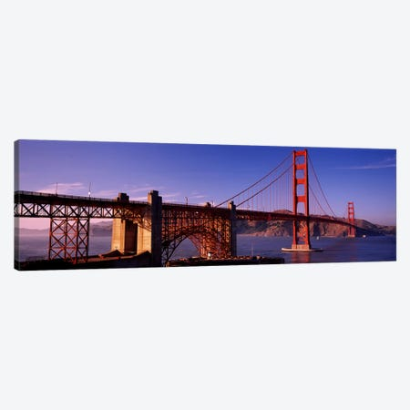 Suspension bridge at duskGolden Gate Bridge, San Francisco, Marin County, California, USA 3-Piece Canvas #PIM2847} by Panoramic Images Canvas Wall Art