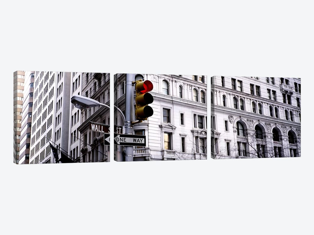 Traffic Light, Wall Street, New York City, New York, USA by Panoramic Images 3-piece Canvas Wall Art