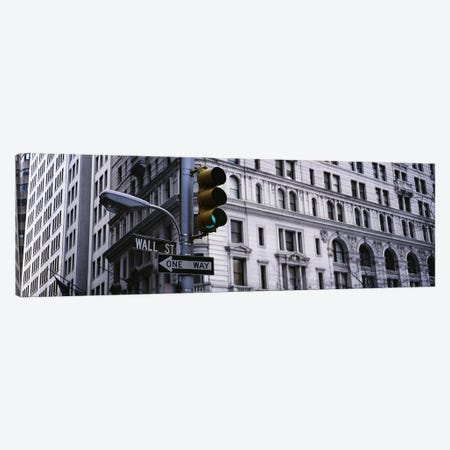 Low angle view of a traffic light in front of a buildingWall Street, New York City, New York State, USA Canvas Print #PIM2851} by Panoramic Images Canvas Wall Art