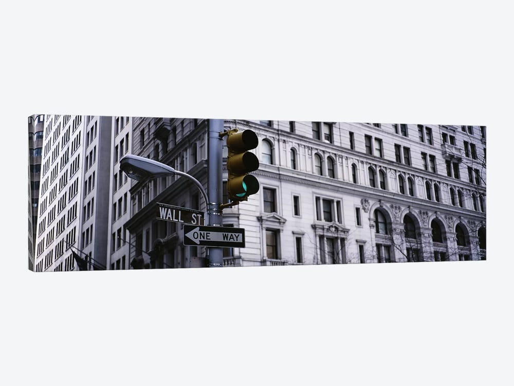 Low angle view of a traffic light in front of a buildingWall Street, New York City, New York State, USA by Panoramic Images 1-piece Canvas Art Print