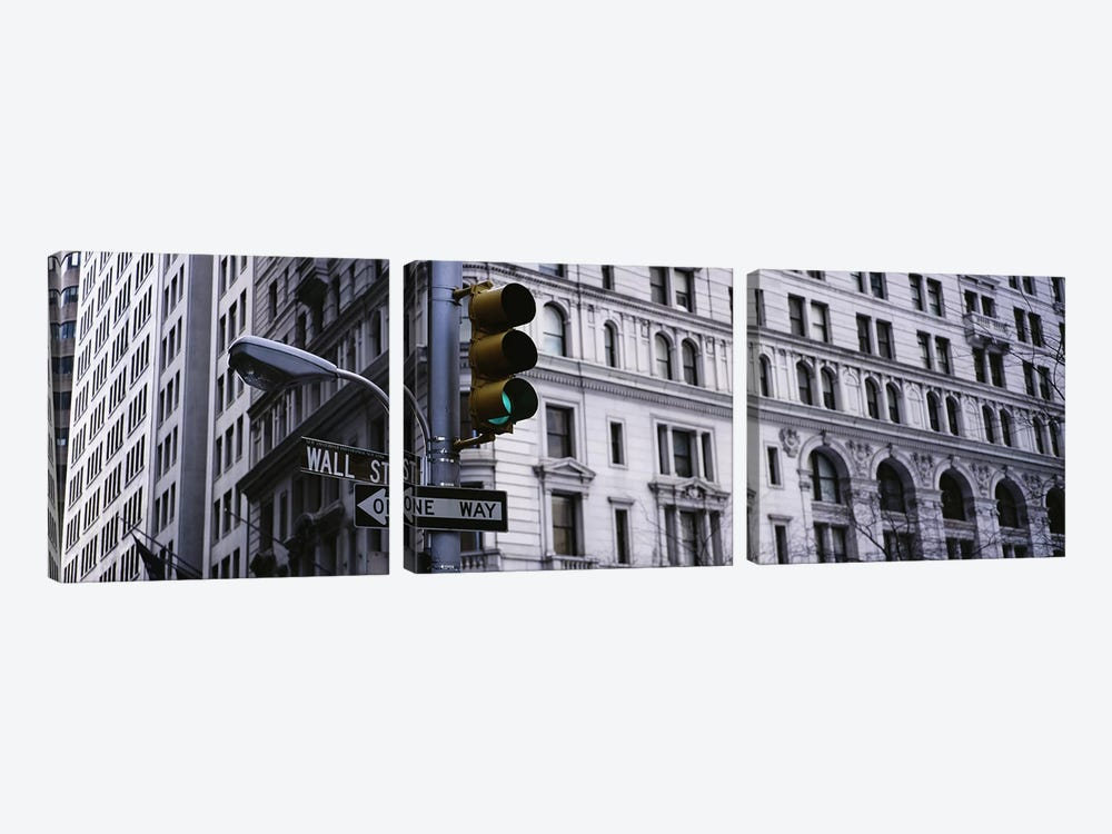 Low angle view of a traffic light in front of a buildingWall Street, New York City, New York State, USA by Panoramic Images 3-piece Canvas Print