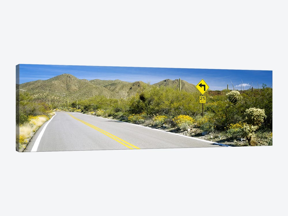 Directional signboard at the roadsideMcCain Loop Road, Tucson Mountain Park, Tucson, Arizona, USA by Panoramic Images 1-piece Canvas Print