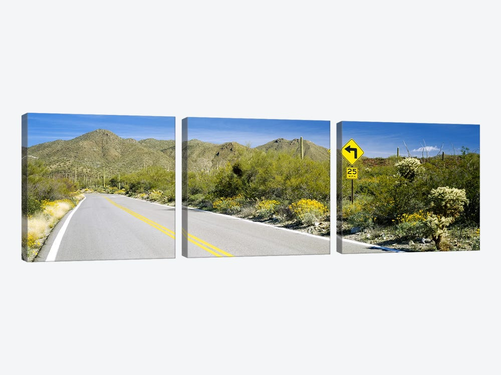 Directional signboard at the roadsideMcCain Loop Road, Tucson Mountain Park, Tucson, Arizona, USA 3-piece Canvas Print