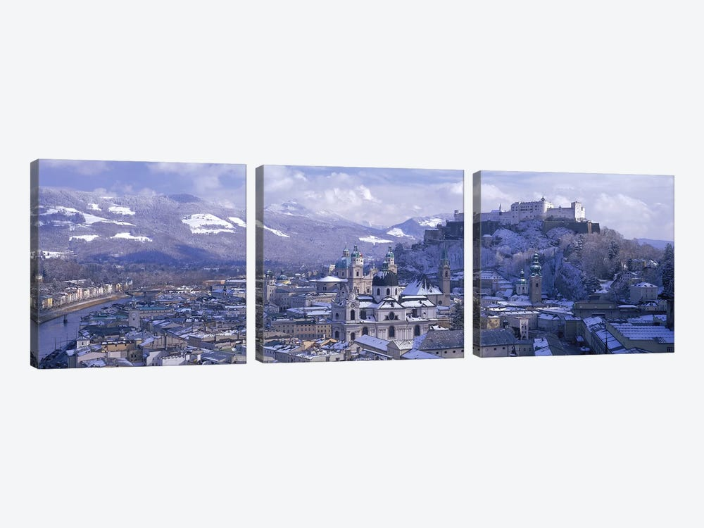Winter Landscape Featuring Altstadt (Old Town), Salzburg, Austria by Panoramic Images 3-piece Canvas Print